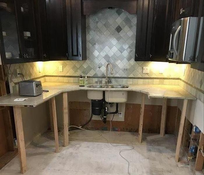 Skeleton of kitchen after removal of water damage
