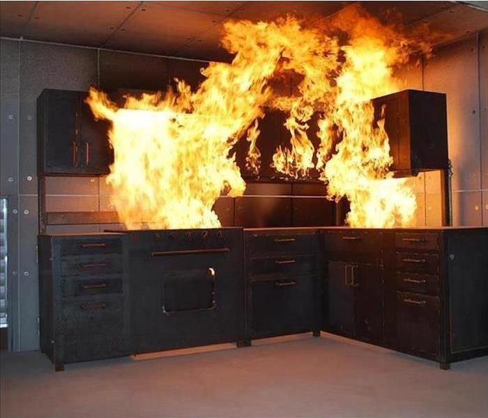 Fire in living room cabinets.